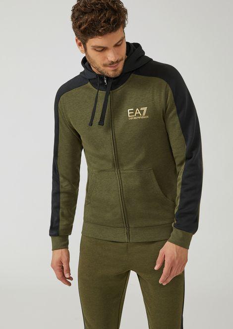 Cotton sweatshirt with zip and hood