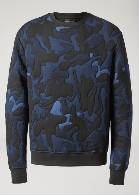 Cotton blend sweatshirt with camouflage jacquard pattern