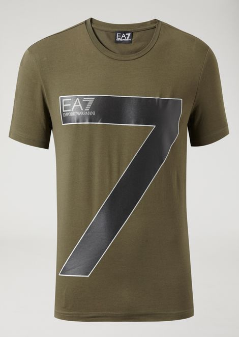 Stretch jersey T-shirt with 7 maxi print