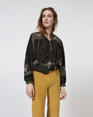 ISABEL MARANT TOP Woman DYRON embroidered silk top r