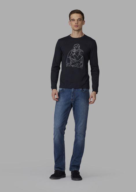 Jumper with exclusive embroidered portrait of Giorgio Armani