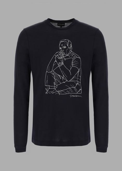 T-Shirt with exclusive embroidered portrait of Giorgio Armani