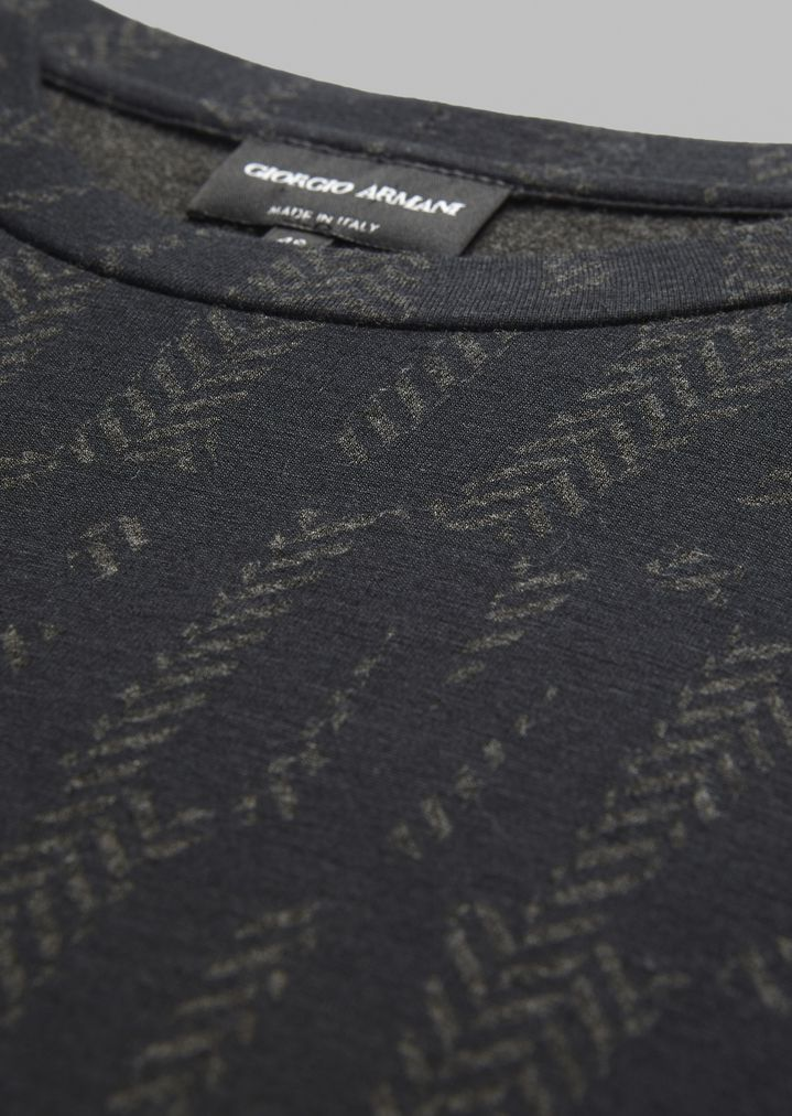 GIORGIO ARMANI T-shirt in stretch viscose jersey with lettering print T-Shirt Man b