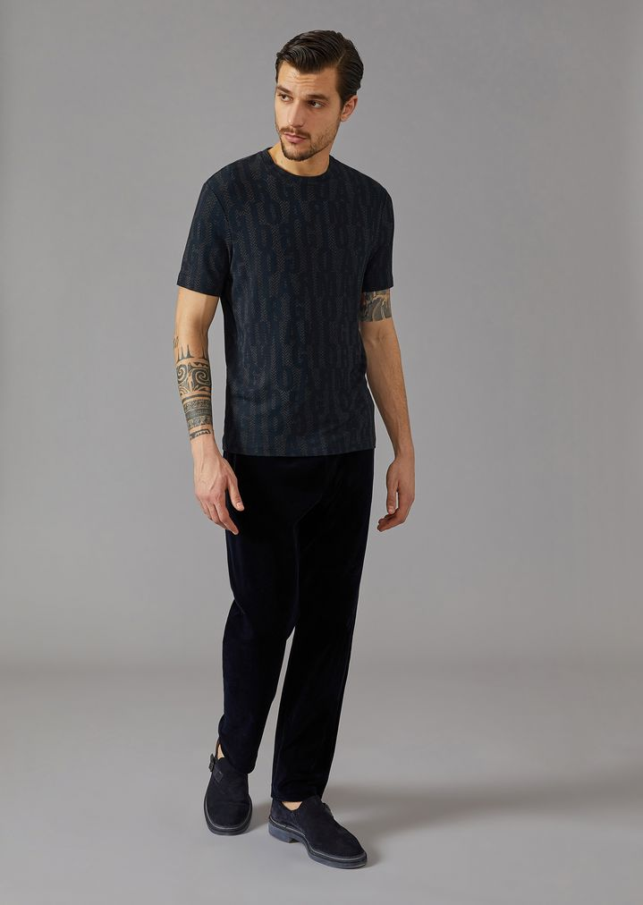 GIORGIO ARMANI T-shirt in stretch viscose jersey with lettering print T-Shirt Man d