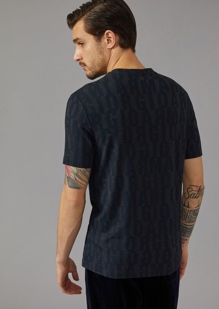 GIORGIO ARMANI T-shirt in stretch viscose jersey with lettering print T-Shirt Man e