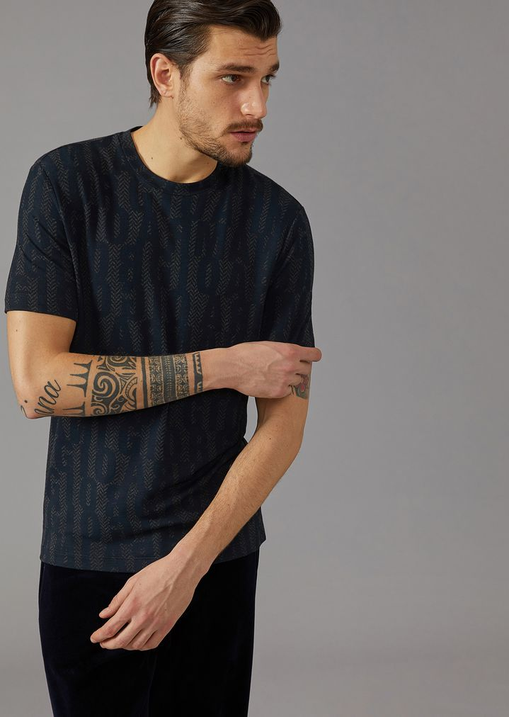 GIORGIO ARMANI T-shirt in stretch viscose jersey with lettering print T-Shirt Man f