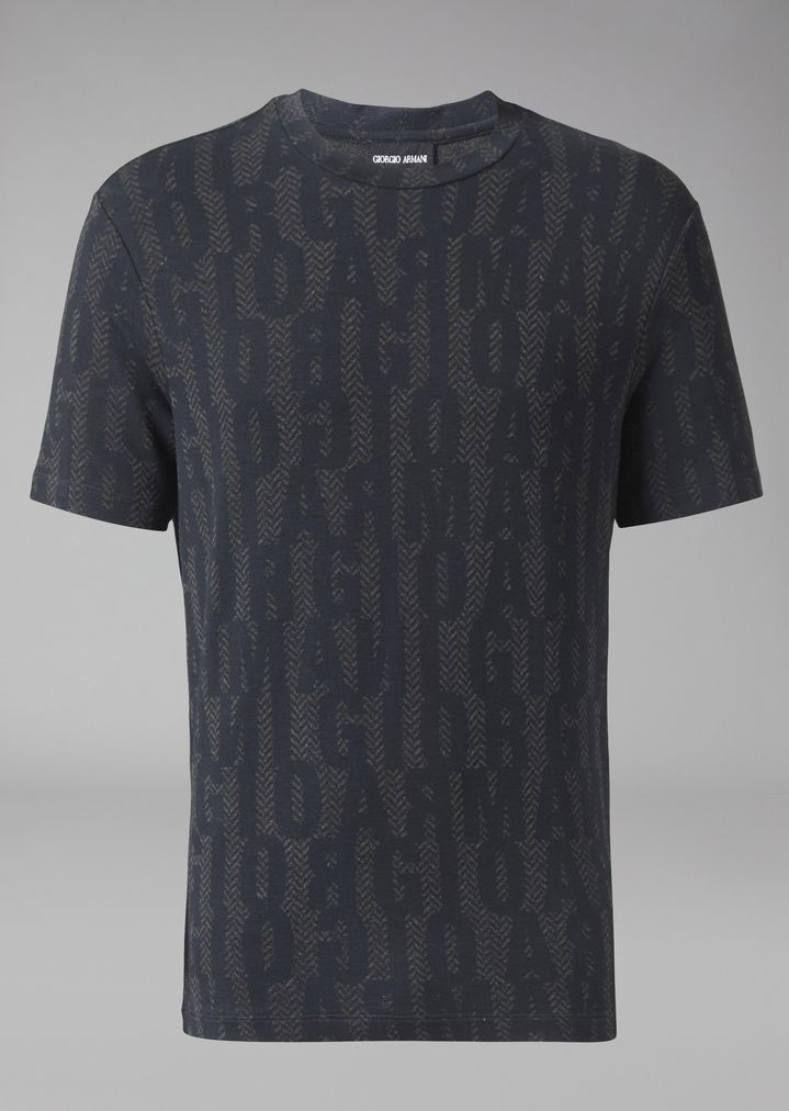 GIORGIO ARMANI T-shirt in stretch viscose jersey with lettering print T-Shirt Man r