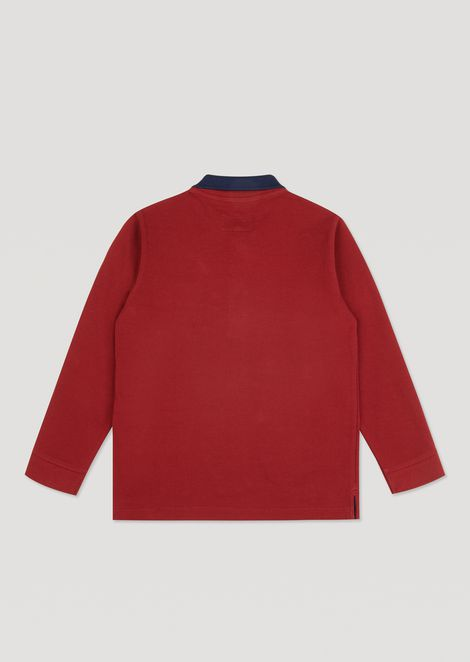 Long-sleeved mercerised piqué polo shirt