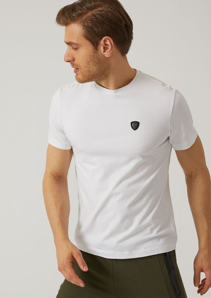 4c5d26993 Stretch fabric T-shirt with EA7 maxi logo on the back   Man   Ea7
