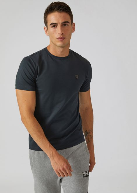 Stretch fabric T-shirt with EA7 maxi logo on the back