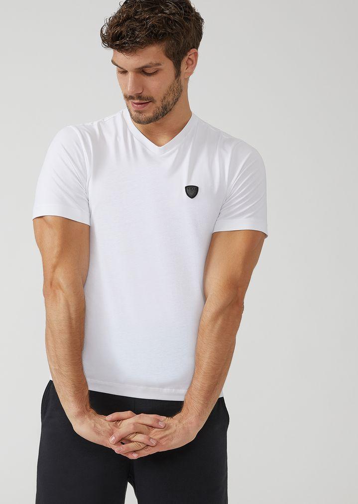 ce9ca2ec V-neck T-shirt with EA7 maxi logo on the back | Man | Ea7