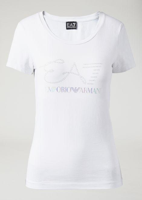 T-shirt with rhinestone logo and iridescent print