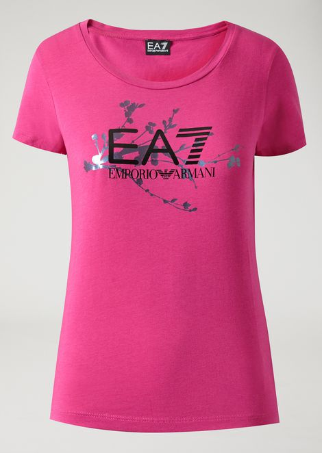 Stretch cotton T-shirt with EA7 logo and floral print