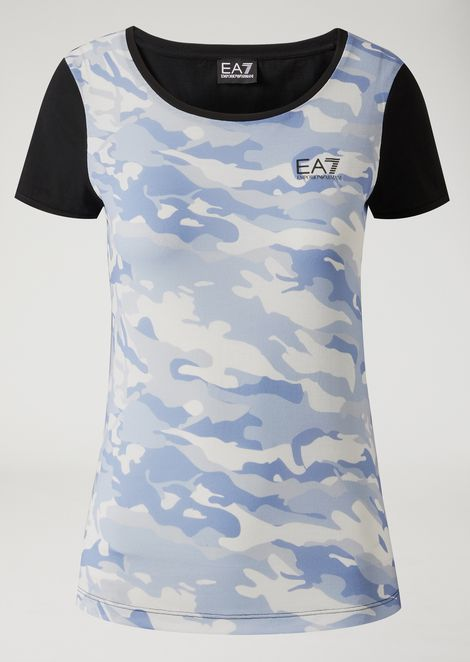 Cotton jersey T-shirt with camouflage pattern