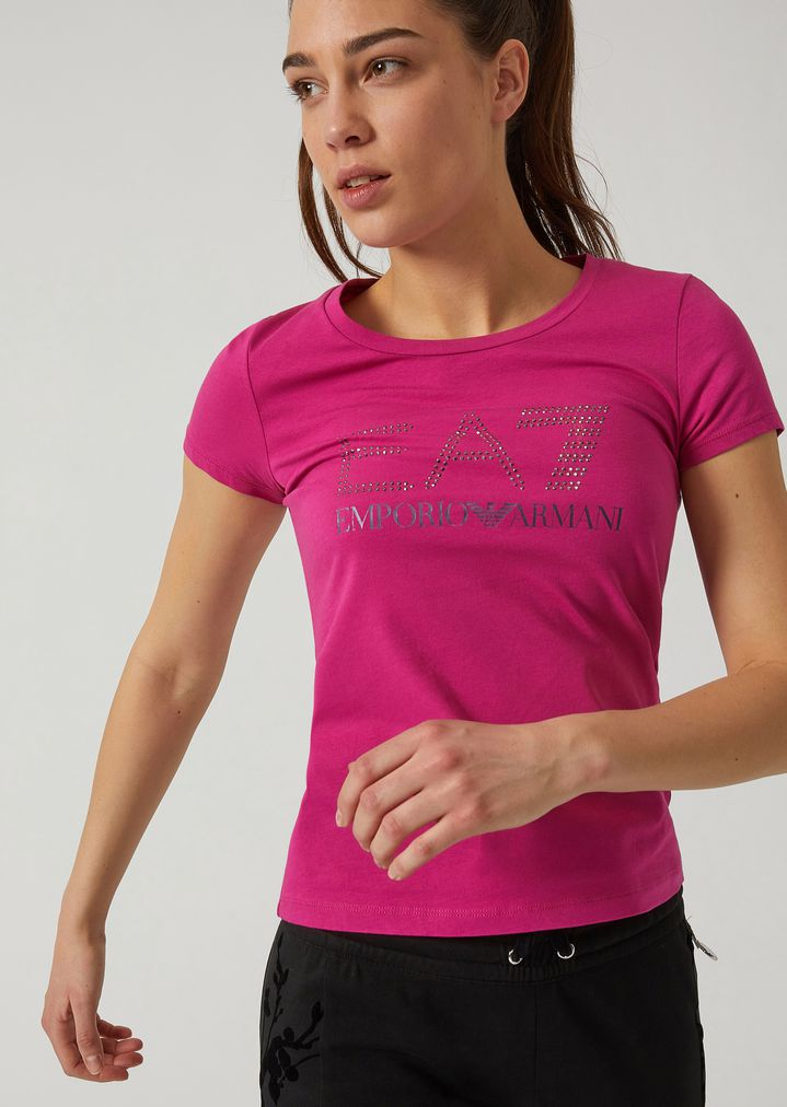 Stretch cotton T-shirt with EA7 rhinestone logo   Woman   Ea7 a93ded3731