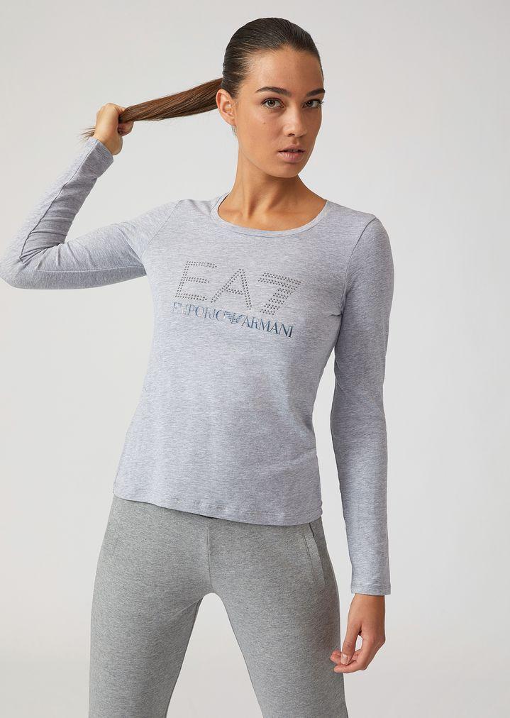 7c665a241d9c Футболка с длинными рукавами и логотипом EA7 со стразами   Женский   Ea7