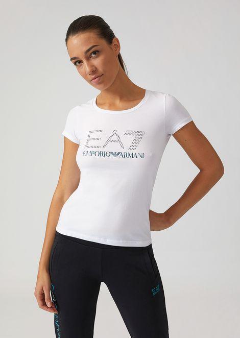 Stretch cotton T-shirt with EA7 rhinestone logo