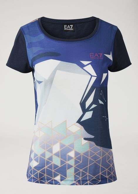 Cotton jersey crew neck T-shirt with graphic print