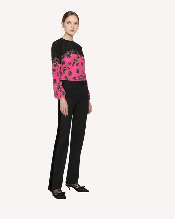 REDValentino Silk top with Bright Flowers print and lace insert