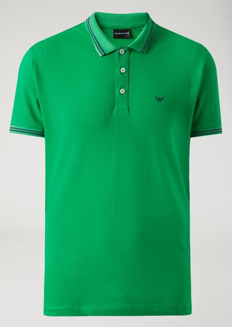 Polo shirt in stretch cotton