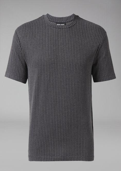 Viscose T-shirt with chevron pattern