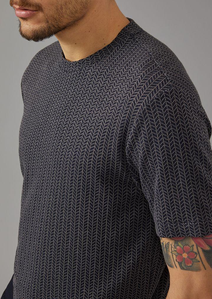 GIORGIO ARMANI Viscose T-shirt with chevron pattern T-Shirt Man a
