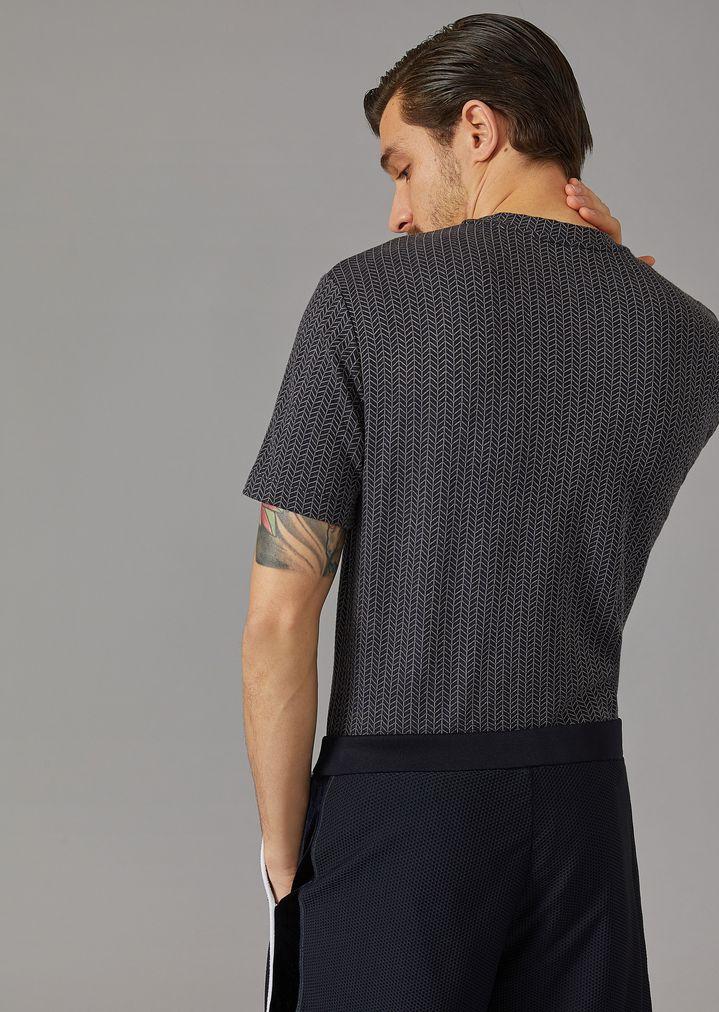 GIORGIO ARMANI Viscose T-shirt with chevron pattern T-Shirt Man e