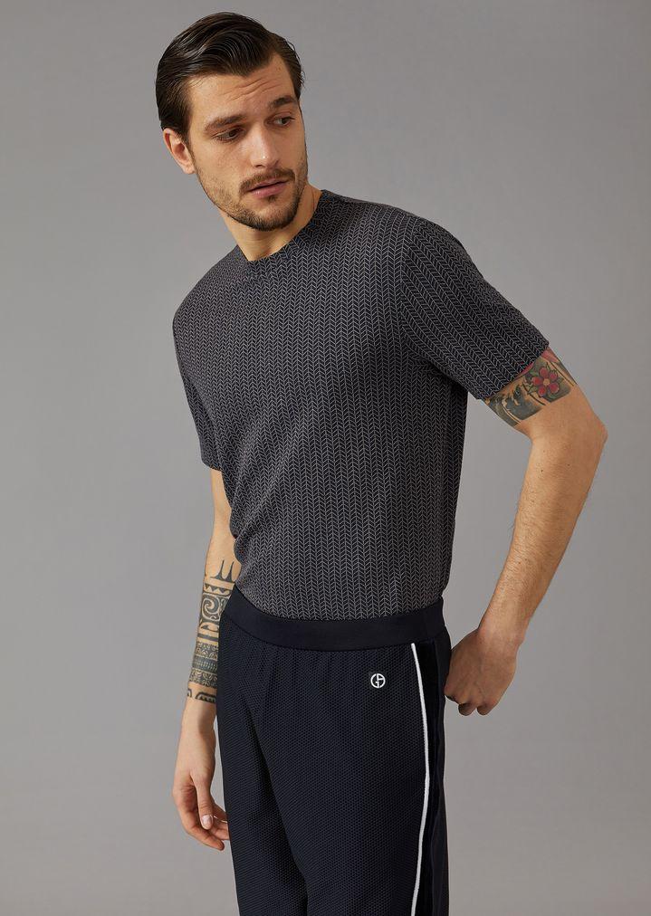 GIORGIO ARMANI Viscose T-shirt with chevron pattern T-Shirt Man f