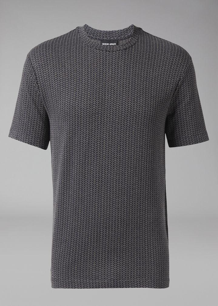 GIORGIO ARMANI Viscose T-shirt with chevron pattern T-Shirt Man r