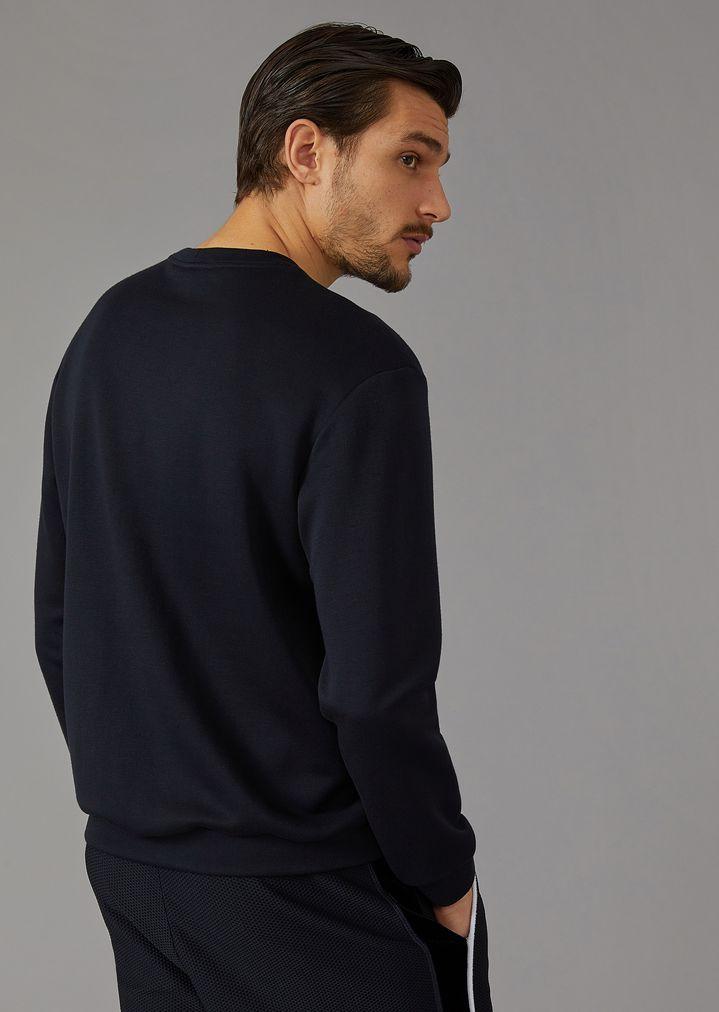 "GIORGIO ARMANI Sweatshirt with ""Giorgio"" lettering in two-tone chevron velvet Sweatshirt Man e"