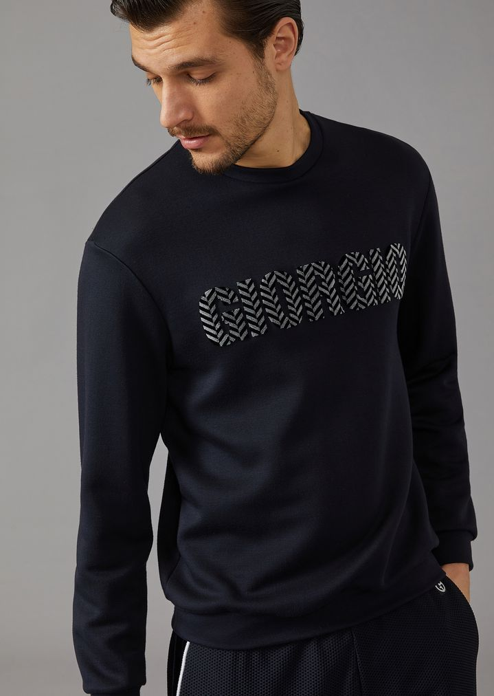 "GIORGIO ARMANI Sweatshirt with ""Giorgio"" lettering in two-tone chevron velvet Sweatshirt Man f"