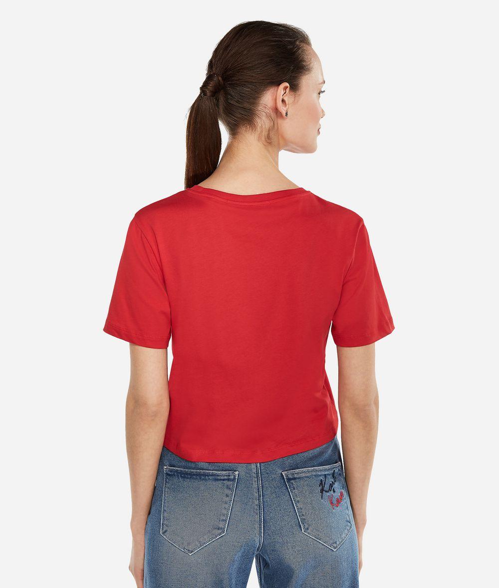 KARL LAGERFELD Karl x Kaia T-Shirt mit Cropped-Schnitt T-Shirt Damen d