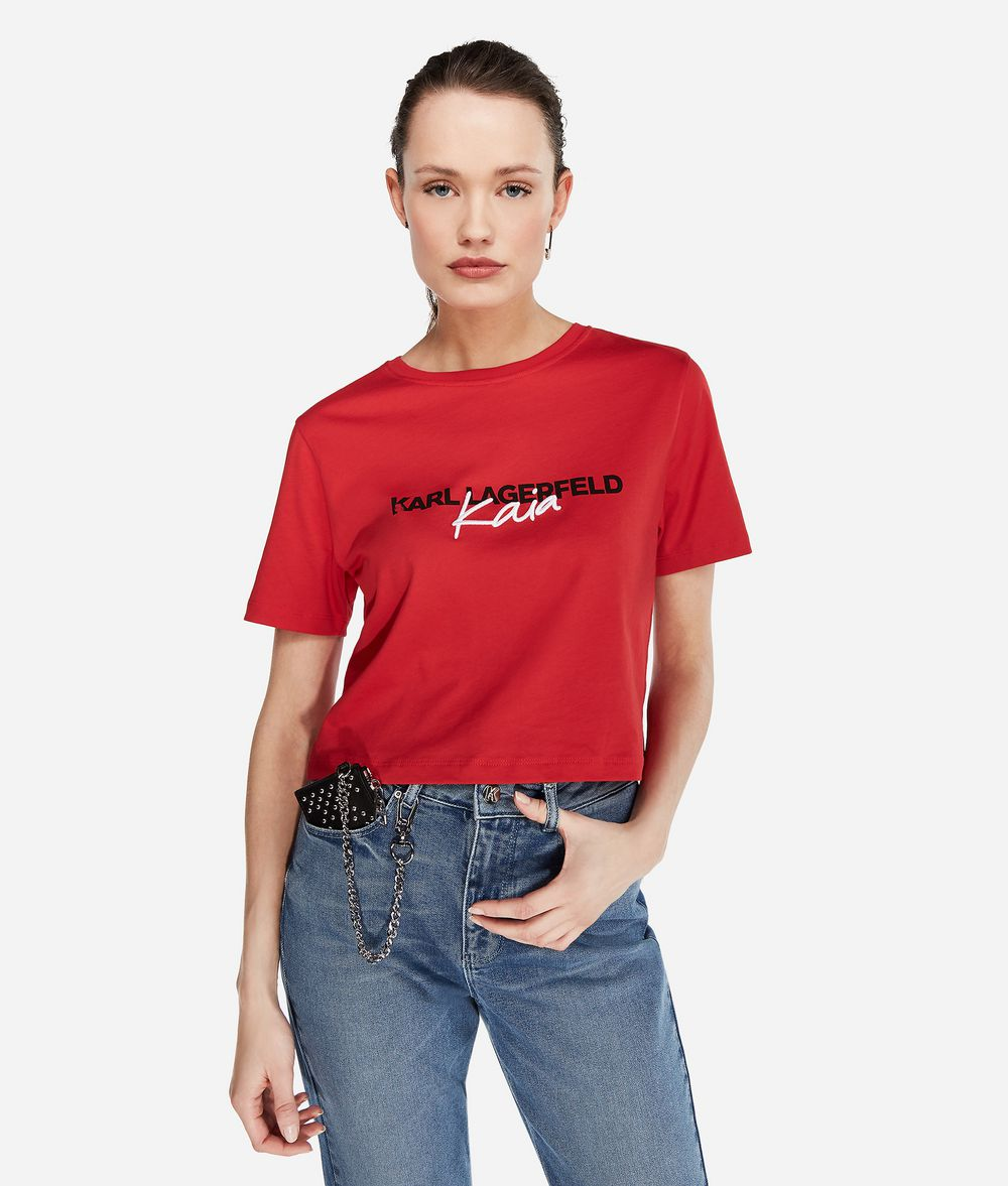 KARL LAGERFELD Karl x Kaia T-Shirt mit Cropped-Schnitt T-Shirt Damen f