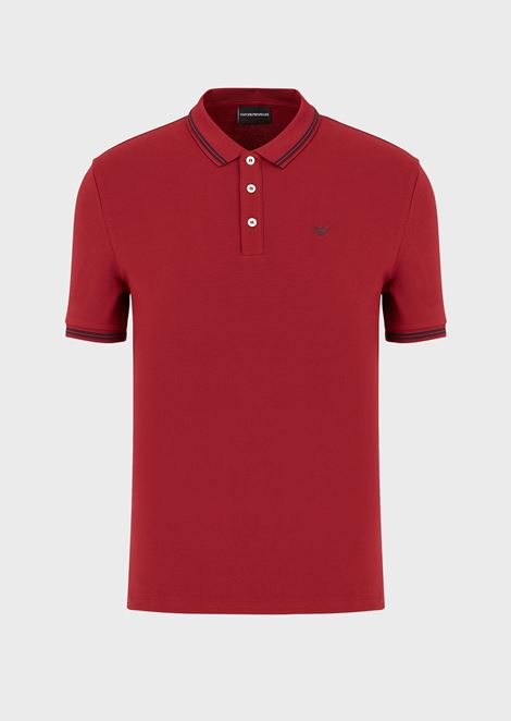 Cotton piqué polo shirt with contrast logo detail on the chest