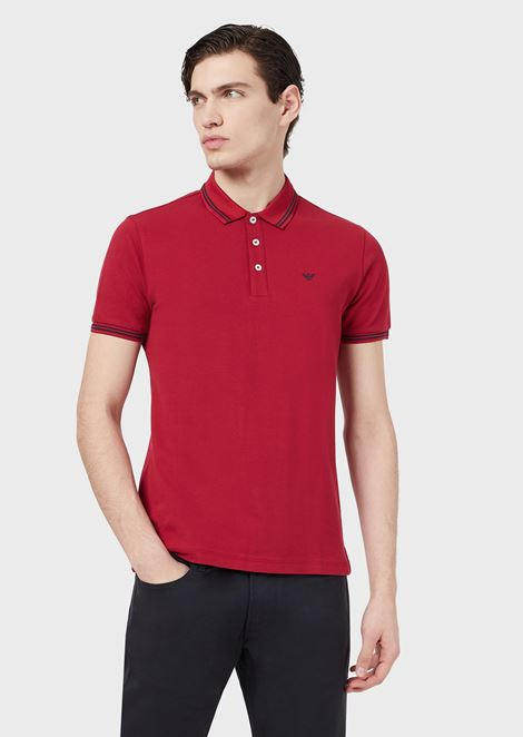 0484a714d Cotton piqué polo shirt with contrast logo detail on the chest