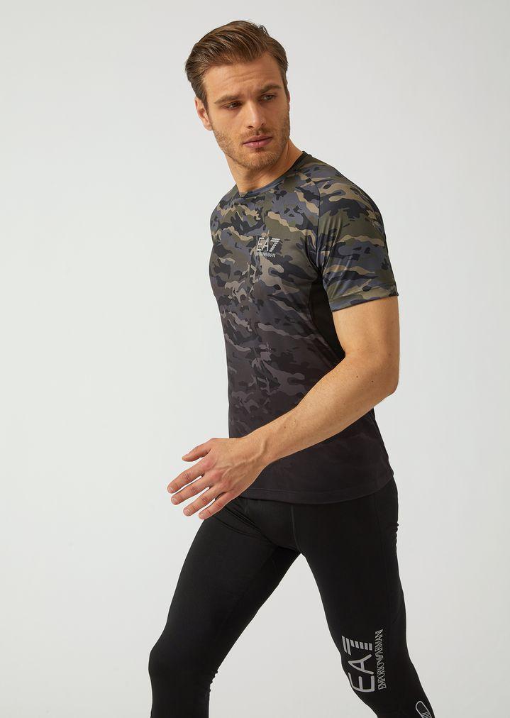 d570207cc6 Camouflage breathable Ventus 7 technical fabric T-shirt   Man   Ea7