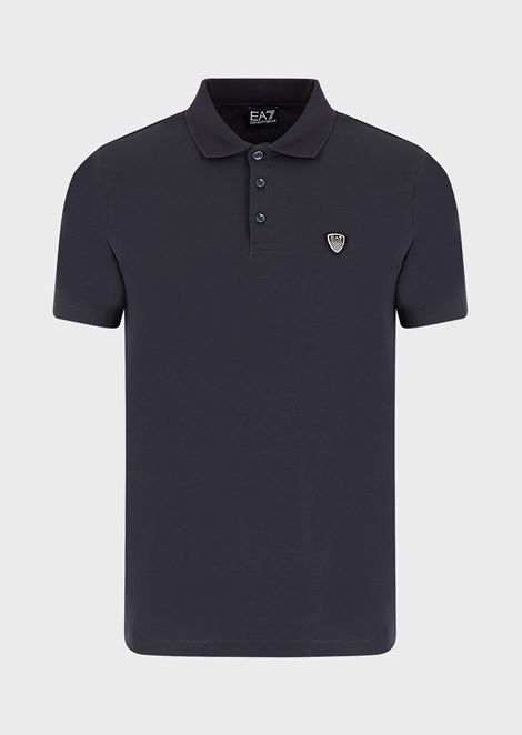 Stretch cotton polo shirt with logo on the front