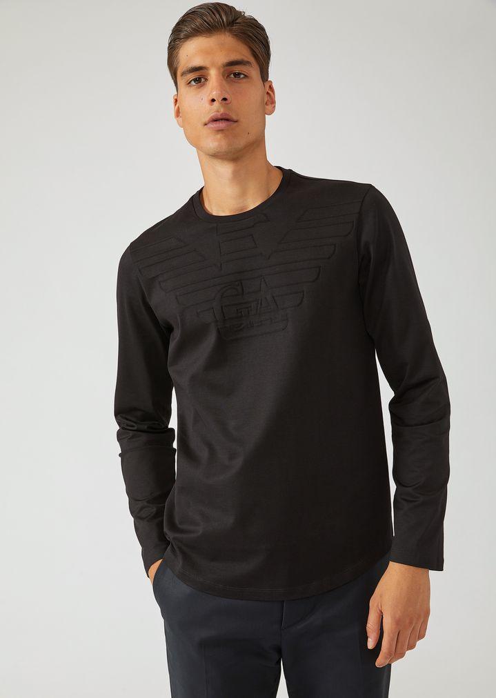 1bb086fd Pure cotton long-sleeve T-shirt with Emporio Armani logo | Man | Emporio  Armani