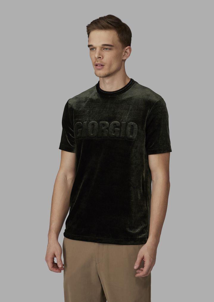 5a46f0cd3f93c1 T-Shirt aus Samt Jersey mit Logo in Relief-Optik