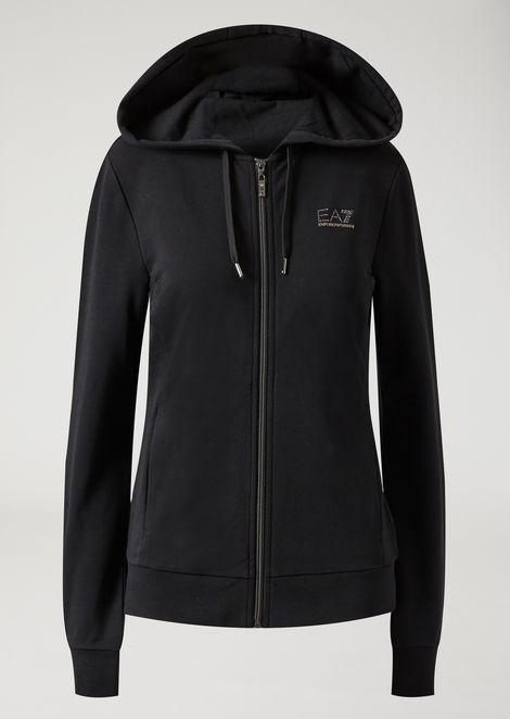 Hooded sweatshirt with zip and small crystal logo
