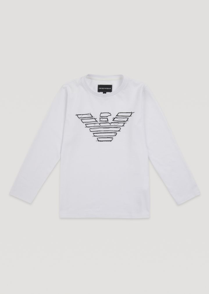 8a1c77271b Pure cotton long-sleeve T-shirt with logo embroidery | Man | Emporio ...