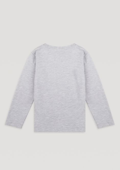 Long-sleeved T-shirt in cotton jersey with logo print.