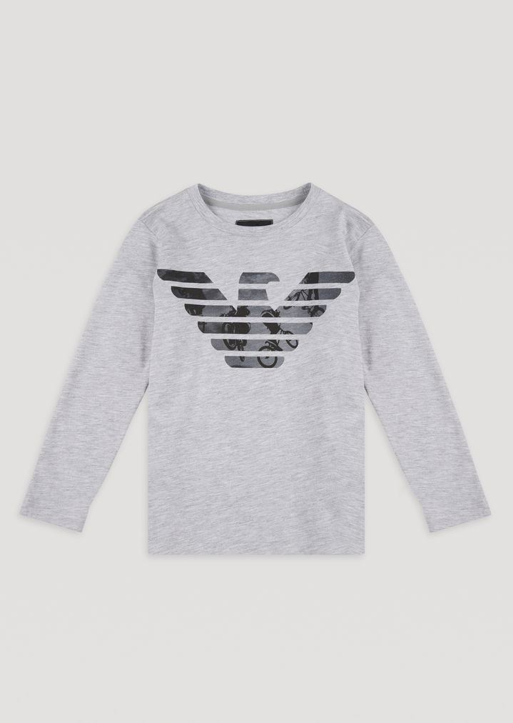 f3b6d8d9 Long-sleeved T-shirt in cotton jersey with logo print. | Man | Emporio  Armani