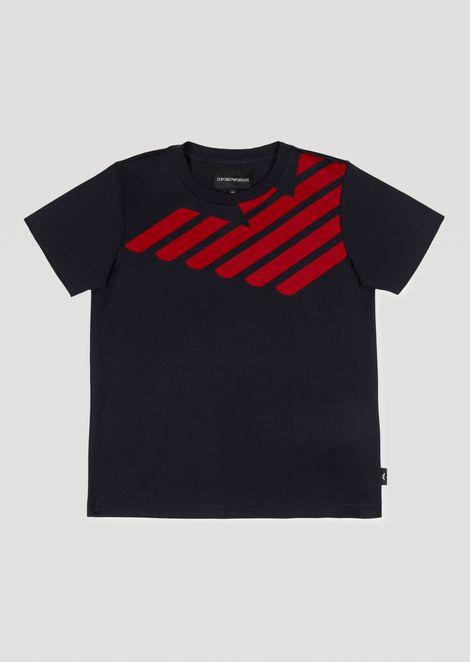 pure cotton jersey t shirt with emporio armani eagle print man