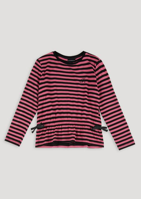 Striped blouse in yarn-dyed viscose jersey with drawstring