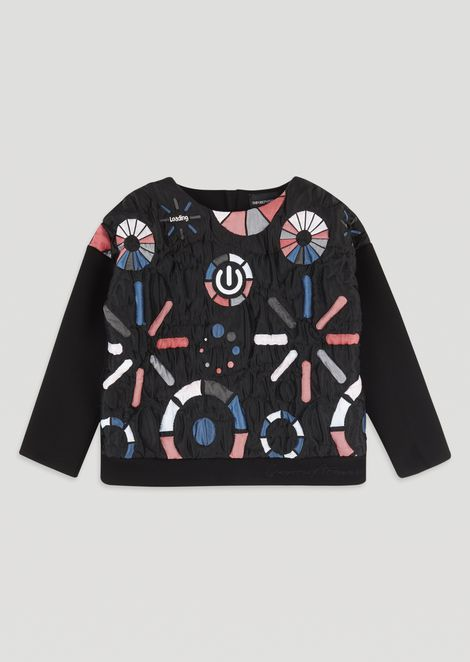 """Loading"" sweatshirt in all-over embroidered quilted fabric"