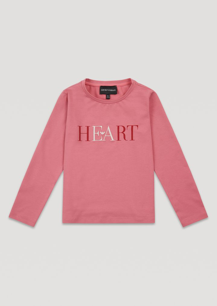 Long-sleeved T-shirt in printed stretch cotton jersey with embroidery.    Woman   Emporio Armani 53607df3b8