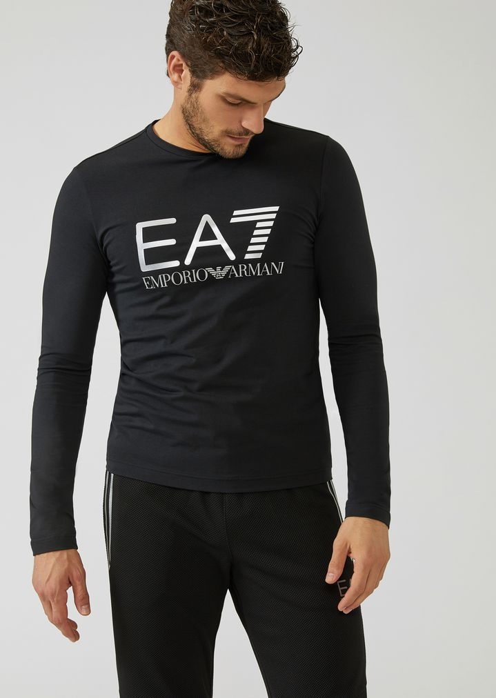 6155c45e8cfa Stretch cotton long-sleeve T-shirt with iconic logo on the front | Man | Ea7
