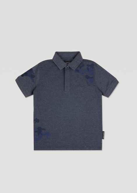 Stretch cotton pique polo shirt with camouflage embroidery