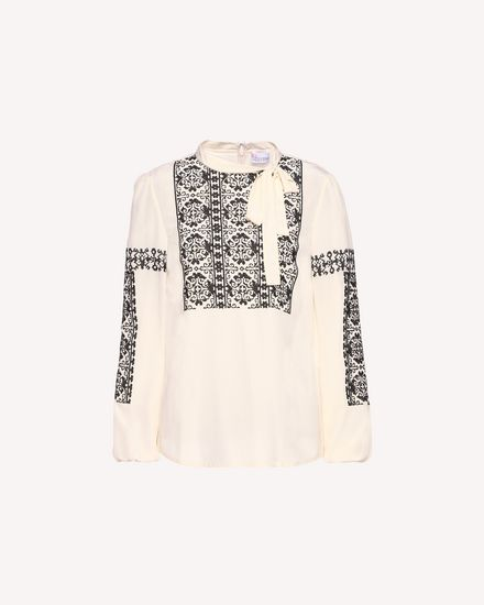 Silk top with cross-stitch detailing